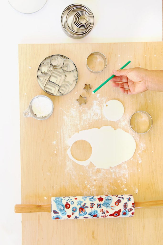 cutting salt dough or air dry clay ornaments using cookie cutters & DIY templates
