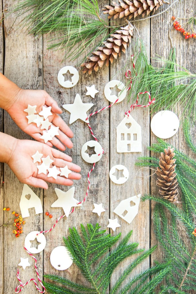 How to make salt dough or air dry clay ornaments & lighted star Christmas garland