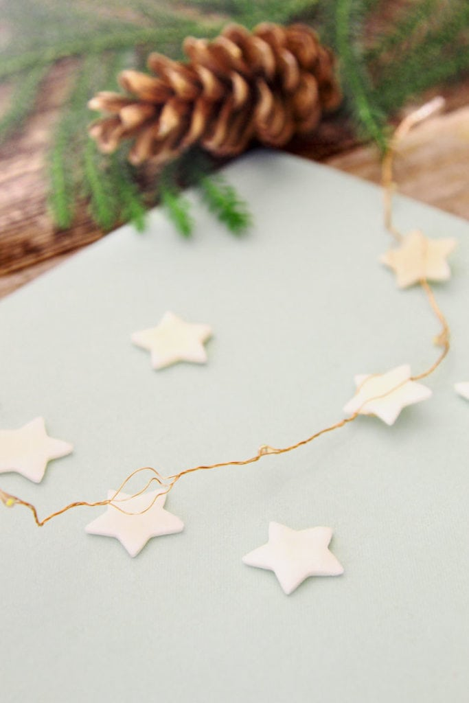 air dry clay and salt dough Christmas star garland ornaments
