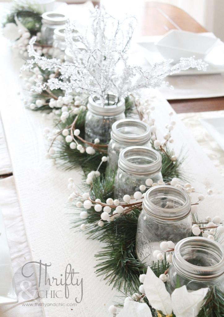white farmhouse Christmas table decor with mason jars