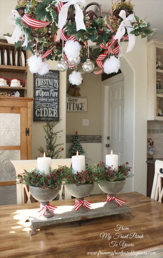 Create stylish Thanksgiving and Christmas table centerpieces using small urns.