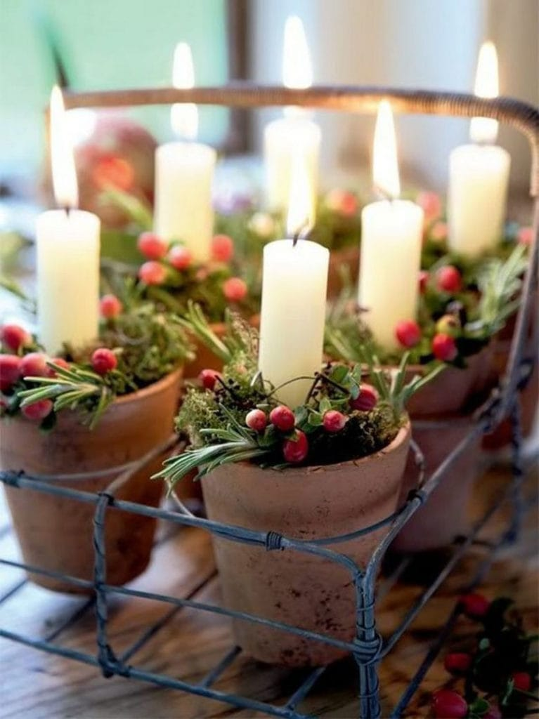 Decorate a Christmas table with candles