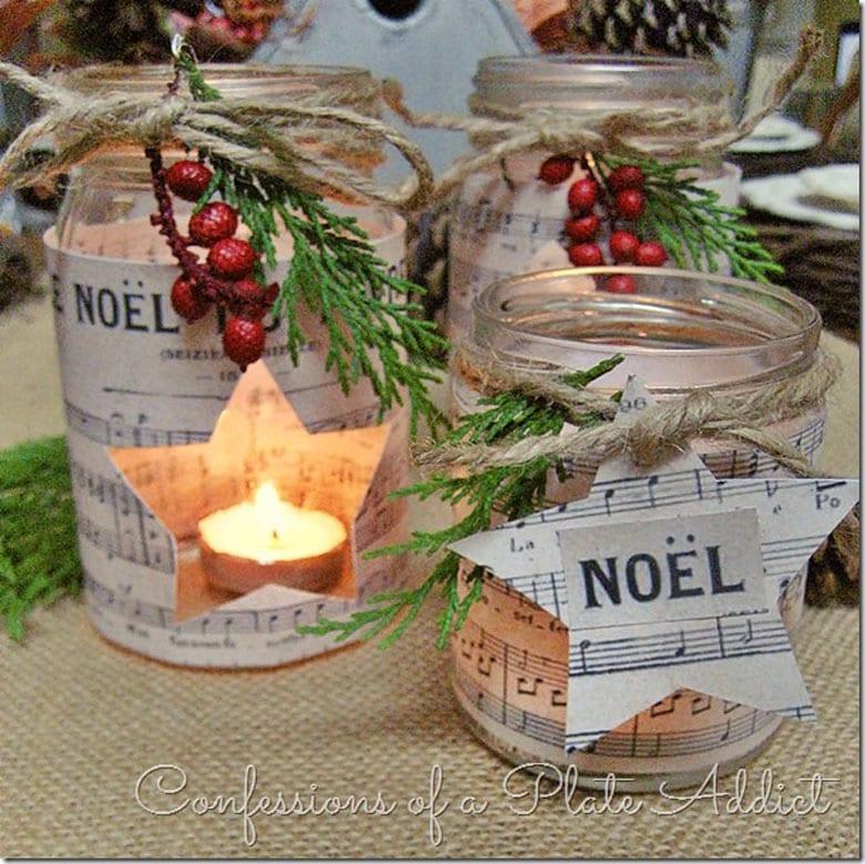 Christmas stars and twinkle lights farmhouse table decor