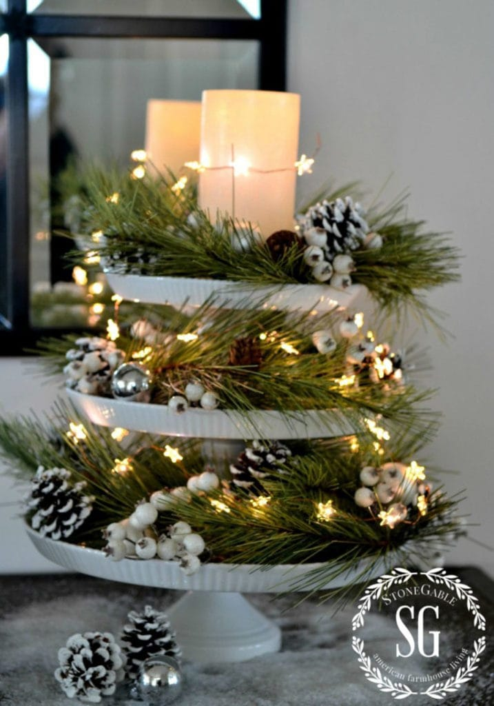 DIY lighted Christmas table centerpiece on a tiered cake stands!