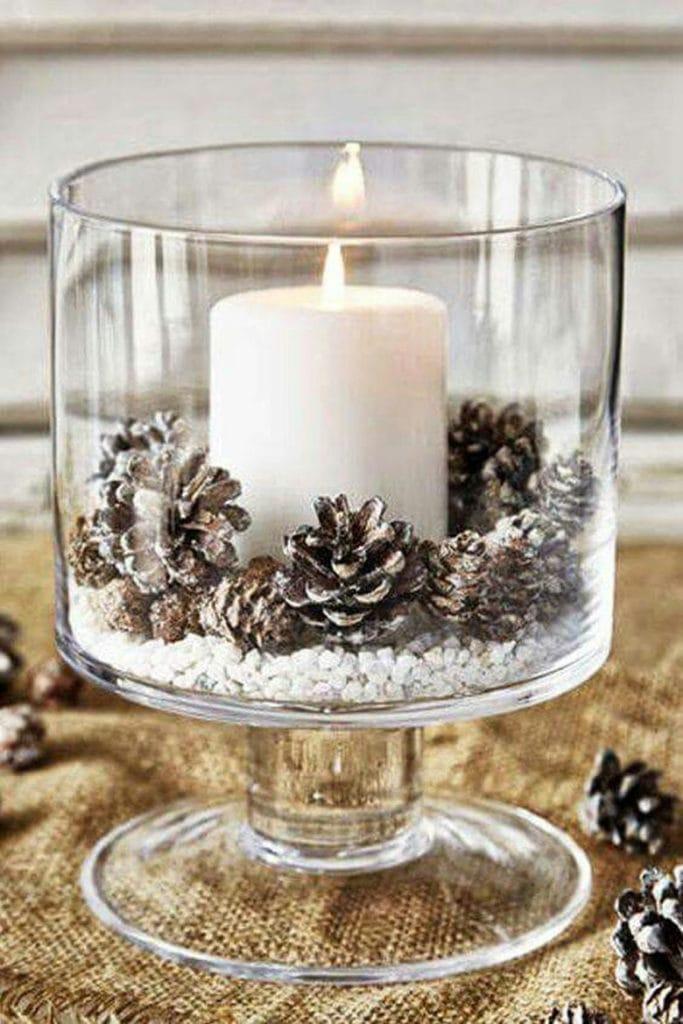 candle table decor for Christmas