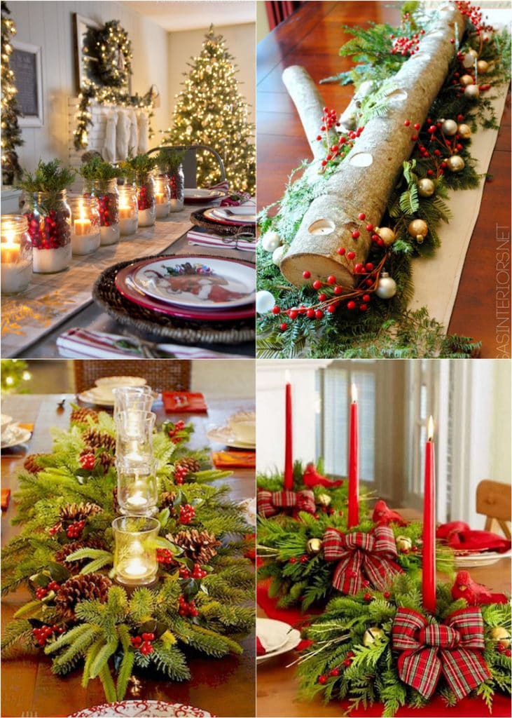 27 gorgeous & easy Christmas table decorations, settings & best DIY centerpiece ideas using runners, candles, pine cones, mason jars, & more!