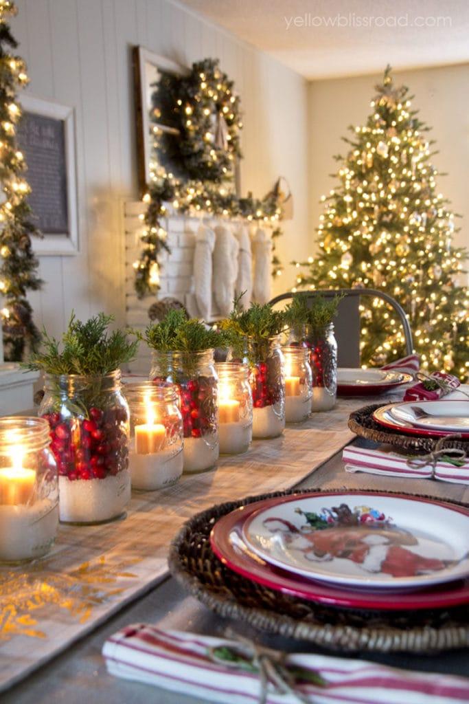 Mason jar Christmas table setting ideas