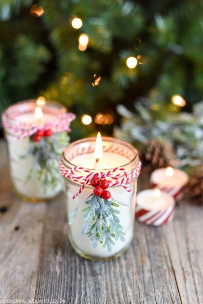 make your own festive mason jar candles for Christmas table decor