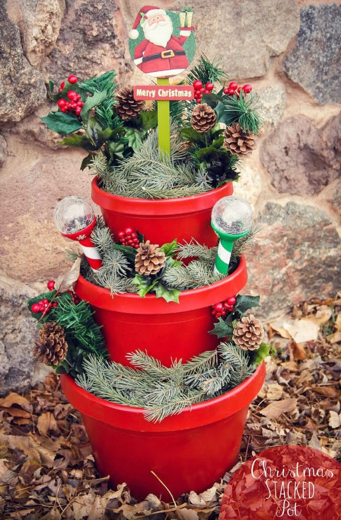 Stacked pots Christmas decor