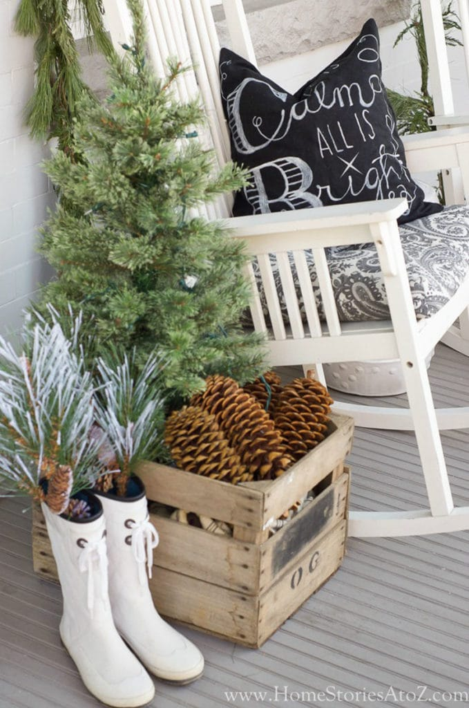 Christmas porch decor with vintage crate