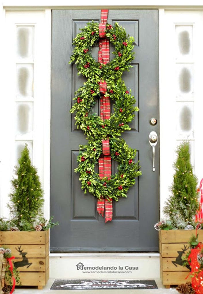 Make a wreath trio for Christmas door decor