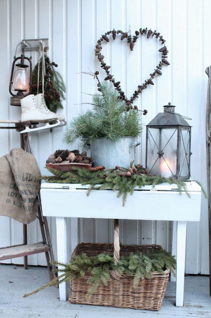 black, white and neutrals  Scandinavian farmhouse Christmas decorations