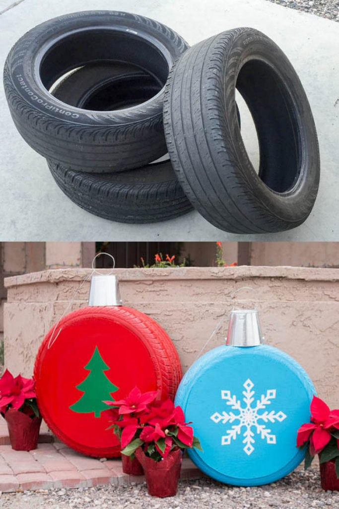 create oversized Christmas ornaments for outdoor decor using old tires
