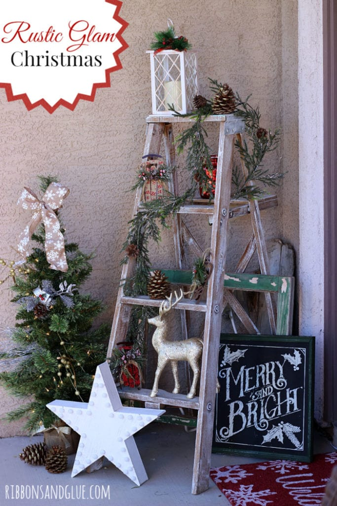 A rustic ladder is transformed into a Christmas display shelf