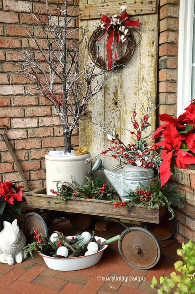 Country style Christmas outdoor decorating on the porch