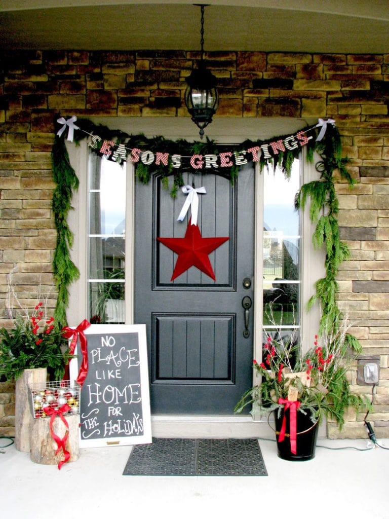 Christmas chalk board, banner  and  a star door wreath