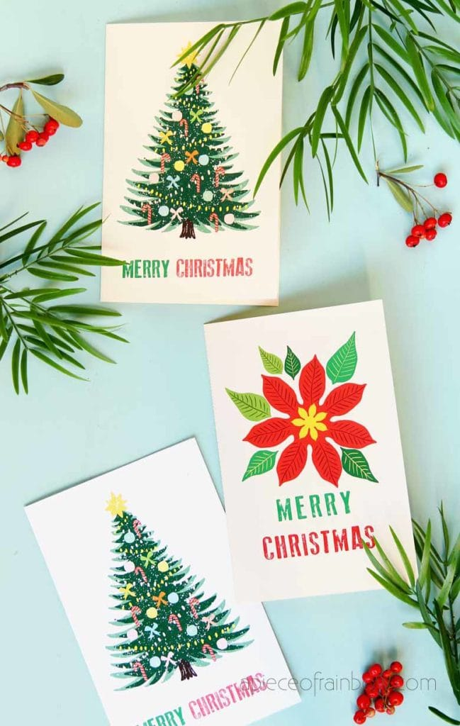 Beautiful & free printable Christmas cards with two handmade designs to download: a vintage Christmas tree card, & a Poinsettia flower Christmas card!