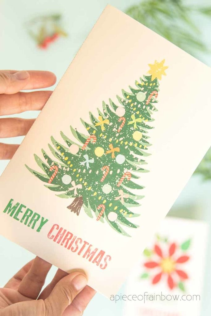 hand painted vintage merry Christmas card with Christmas tree design