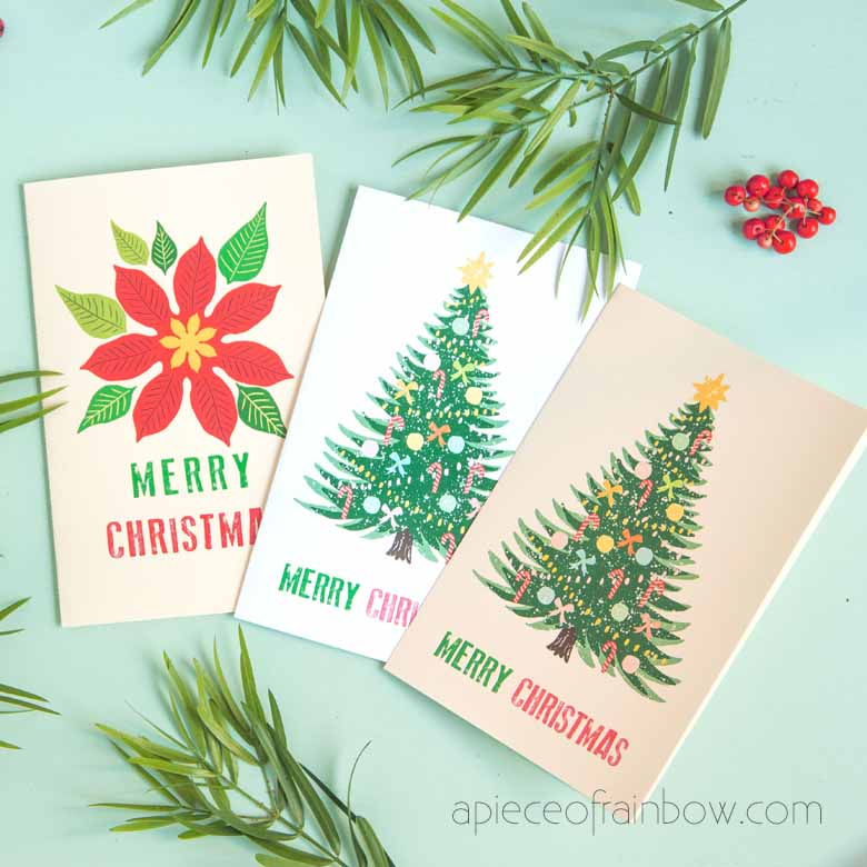 Free printable Christmas cards with two handmade designs to download: a vintage Christmas tree card, & a Poinsettia flower merry Christmas card!