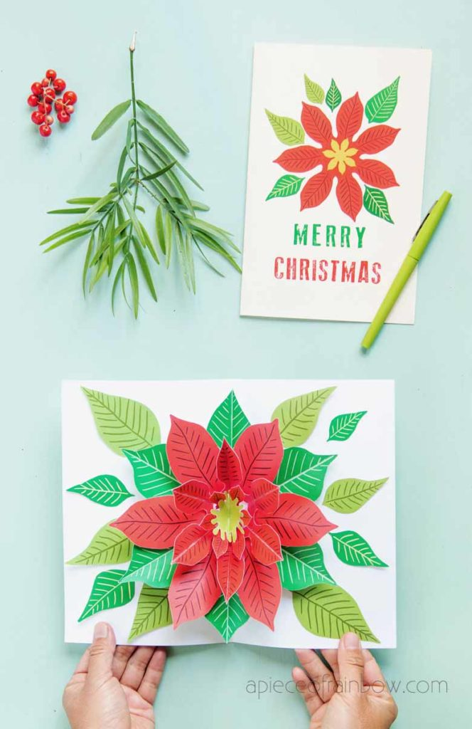 3D flower Merry Christmas card free template download