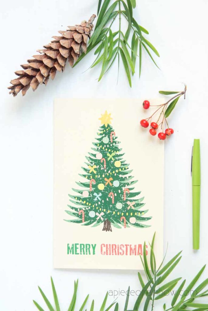 retro vintage Christmas tree card free download and print