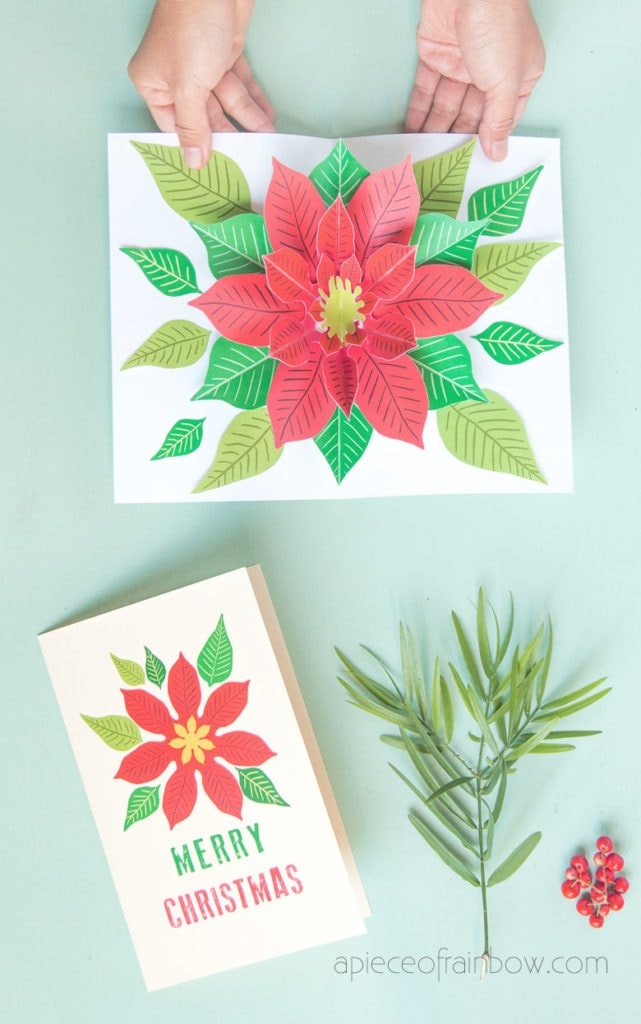 Make a beautiful Christmas card with pop up flower design! Fun & easy Christmas paper craft