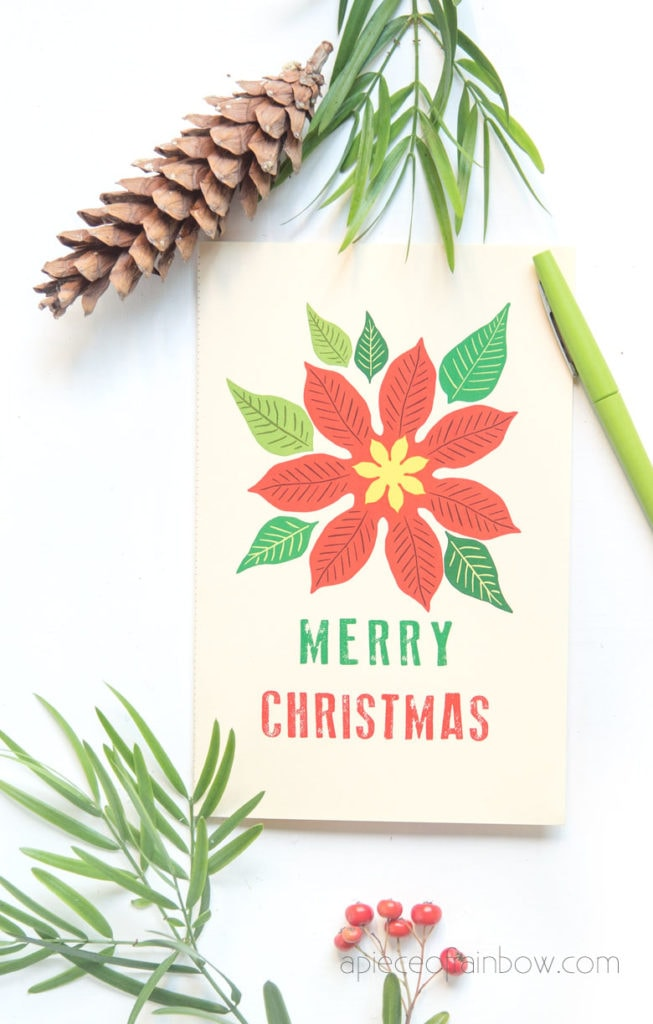 DIY Merry Christmas card with vintage inspired design