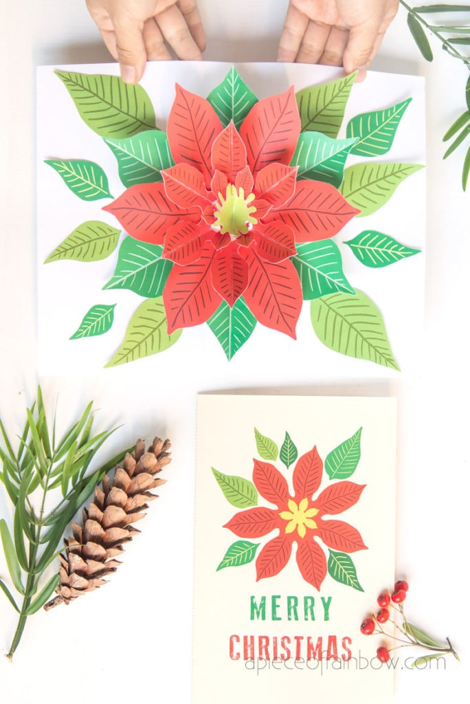 modern retro DIY pop up Christmas card with a beautiful Poinsettia flower paper craft