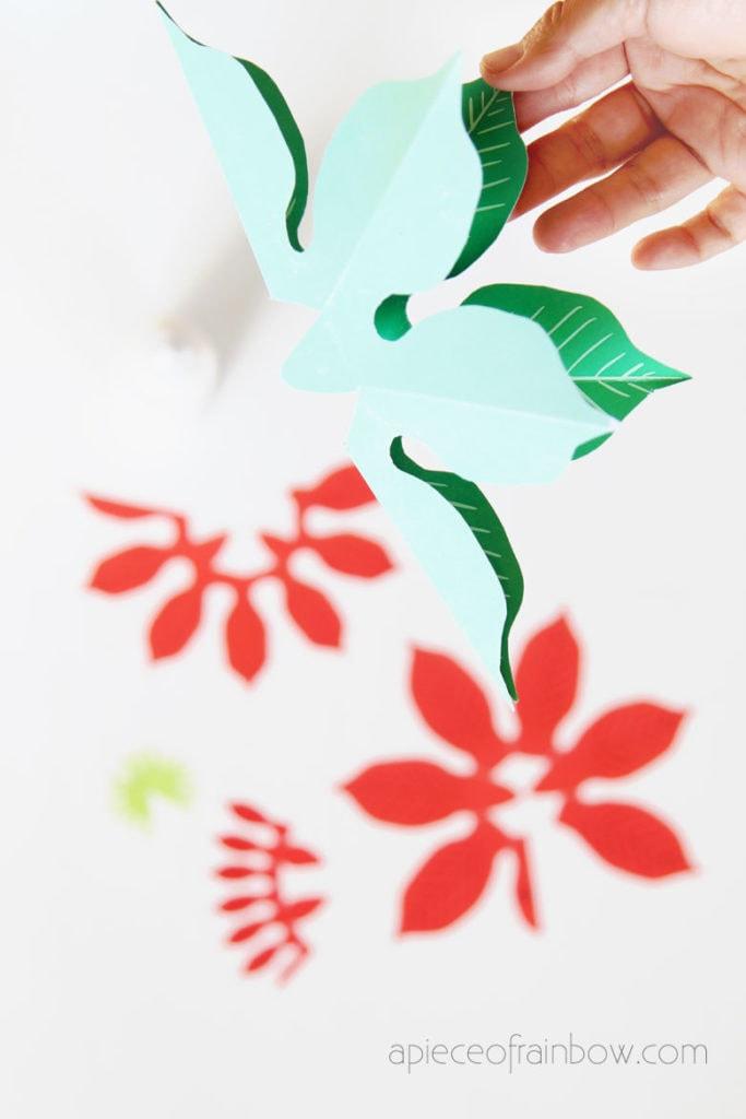 fold DIY pop up Christmas card flowers
