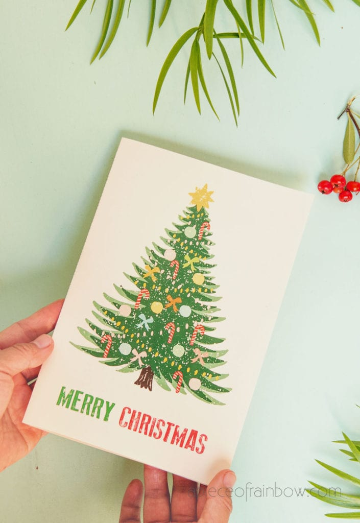 vintage inspired printable Merry Christmas card with Christmas tree design