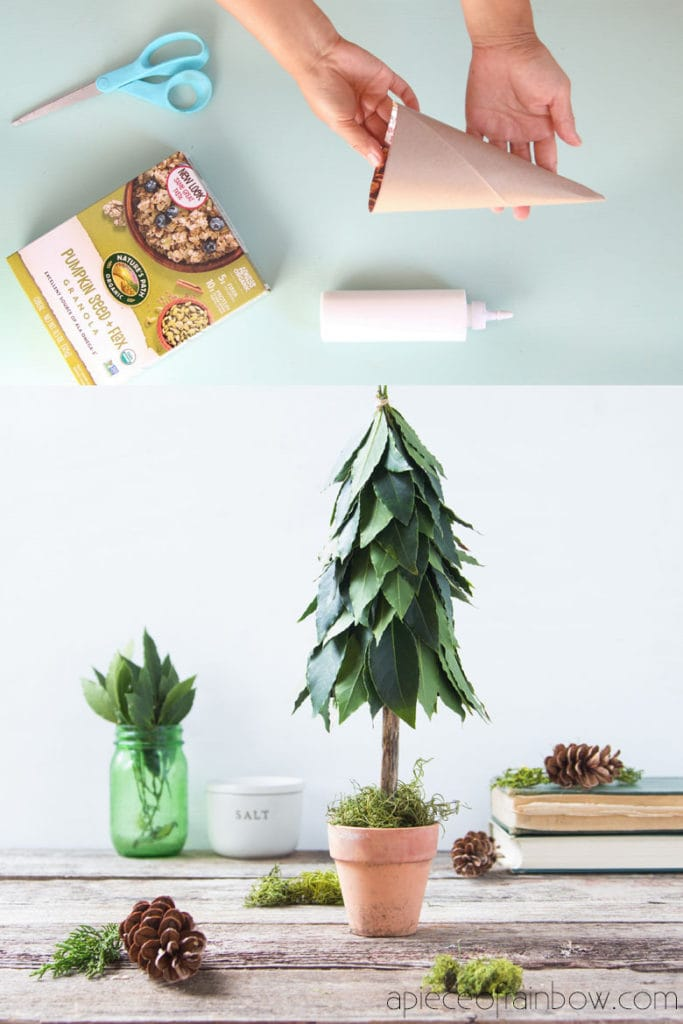 Beautiful $1 DIY tabletop Christmas tree with fresh leaves topiary & recycled materials! Perfect farmhouse kitchen decorations & boho modern gift idea!
