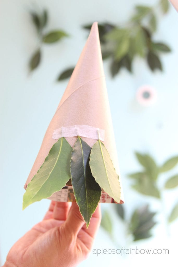 tape leaves to cone