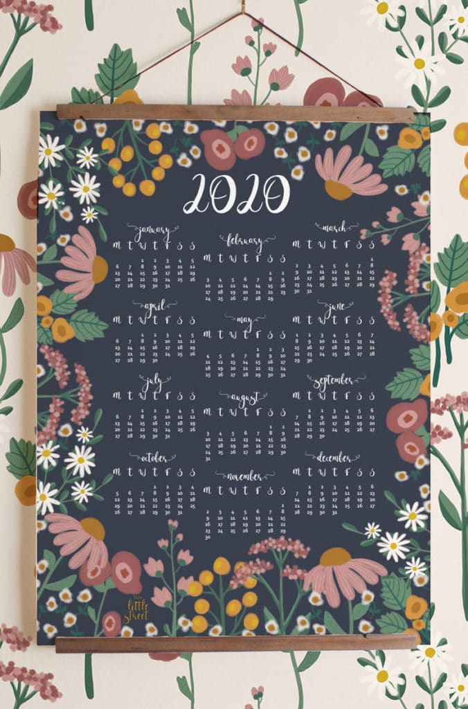 free 2020 yearly calendar art rifle paper inspired folk art garden vintage floral Beautiful flowers  Anthropologie  style