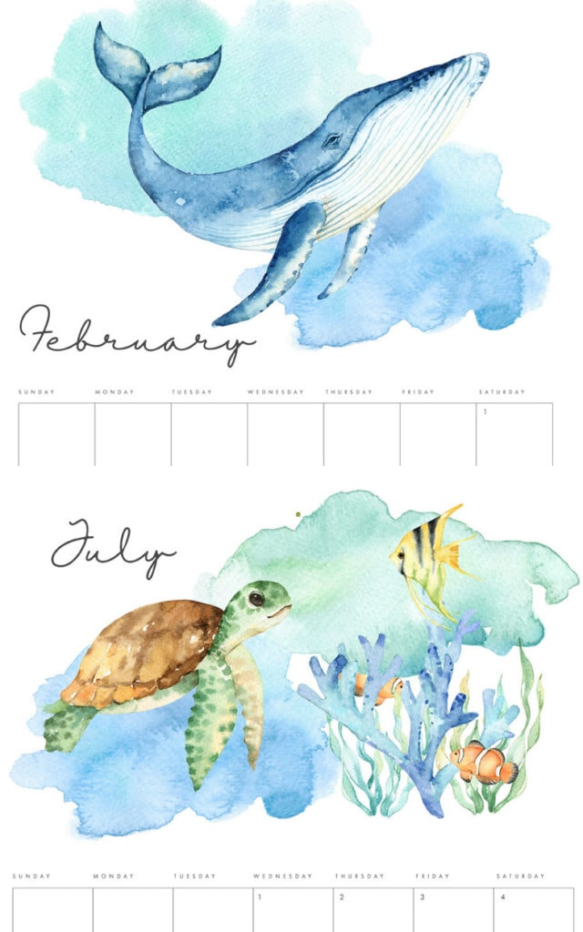 Under the sea watercolor free 2020 monthly calendars