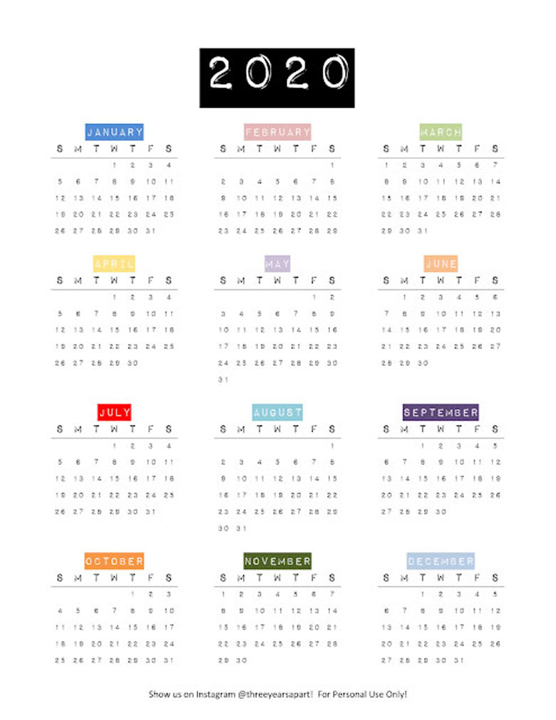 Modern retro free full page 2020 yearly calendar