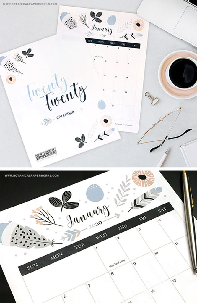 Beautiful boho free 2020 monthly calendars