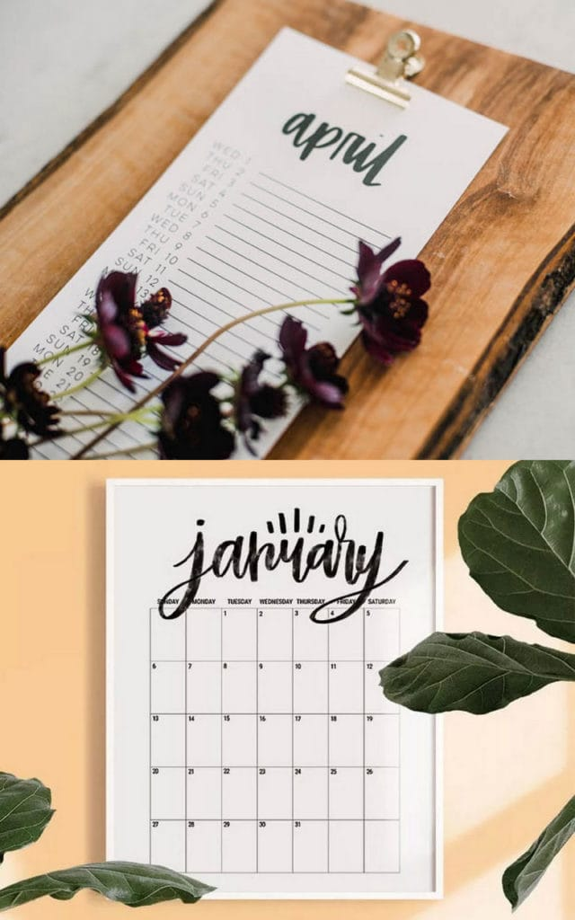 Free monthly & vertical list 2020 calendars with  hand lettering design