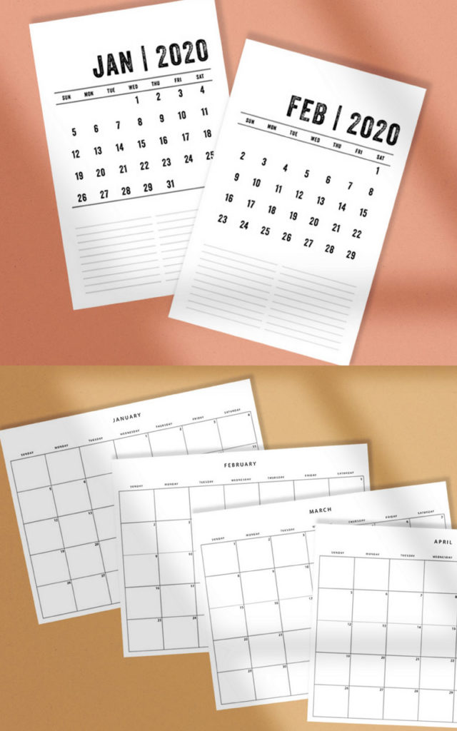 Free 2020 calendars with horizontal or vertical template