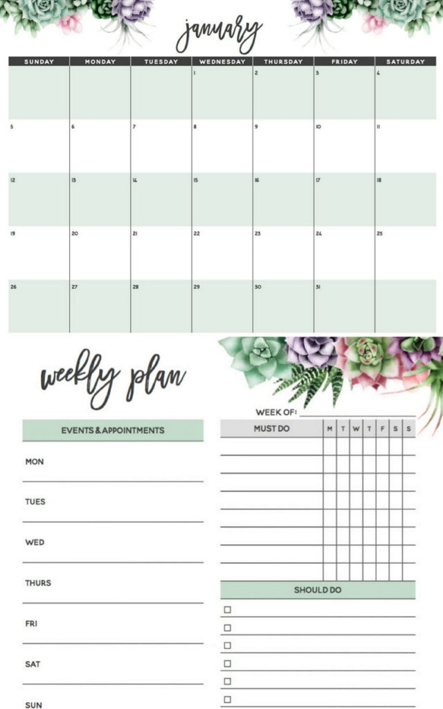 Free printable 2020 monthly calendars & weekly planners