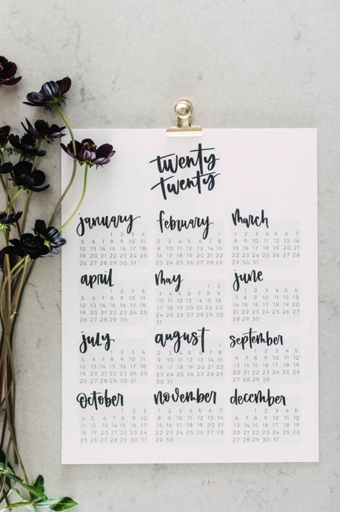 Modern lettering full page 2020 yearly calendar
