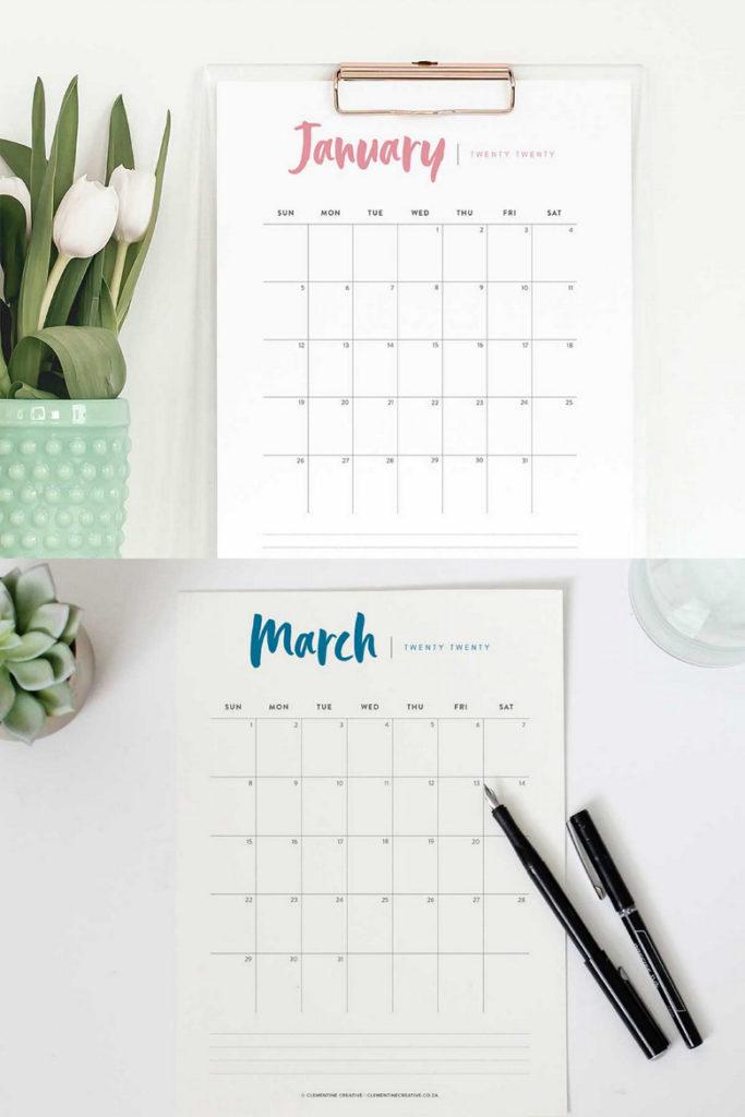 Hand lettered 2020 calendars