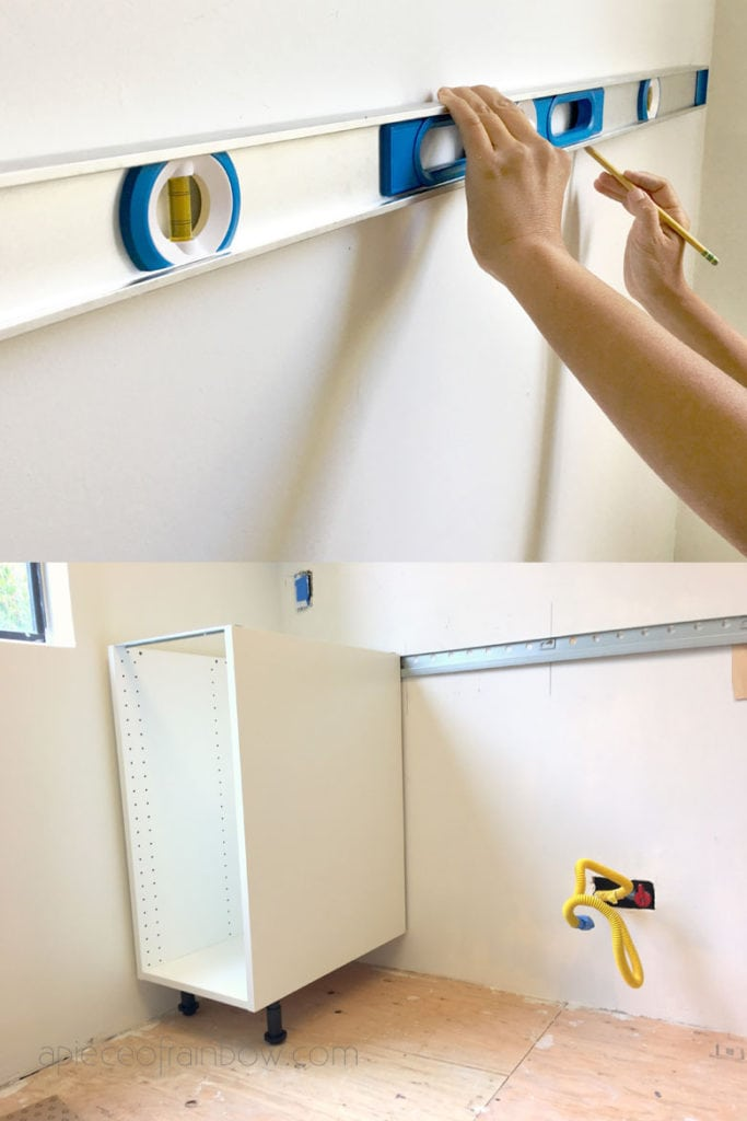 How to hang IKEA kitchen rails for Sektion cabinets