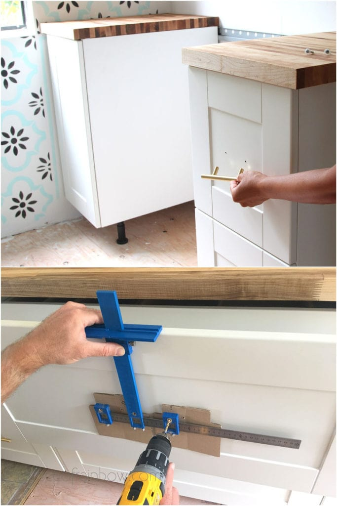 install IKEA kitchen cabinet hardware with jig