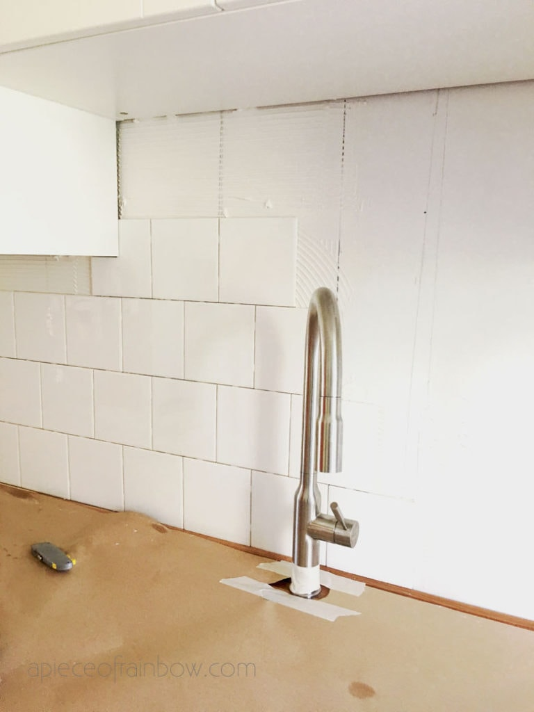 installing square subway tile backsplash in kitchen