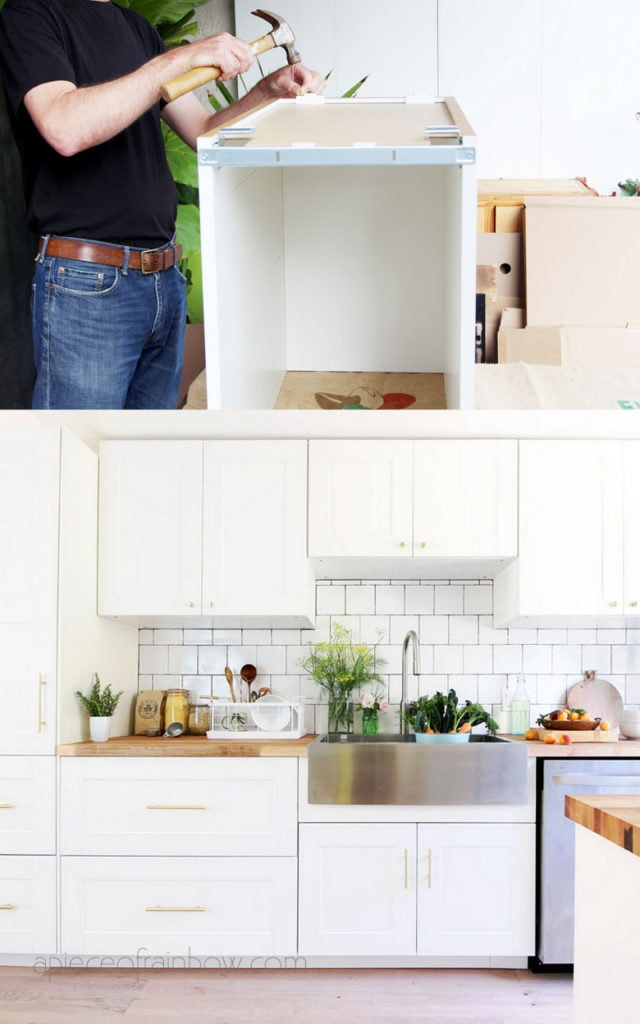 DIY white IKEA kitchen design and small kitchen remodel with white kitchen cabinets, stainless farmhouse sink, and square subway tile backsplash