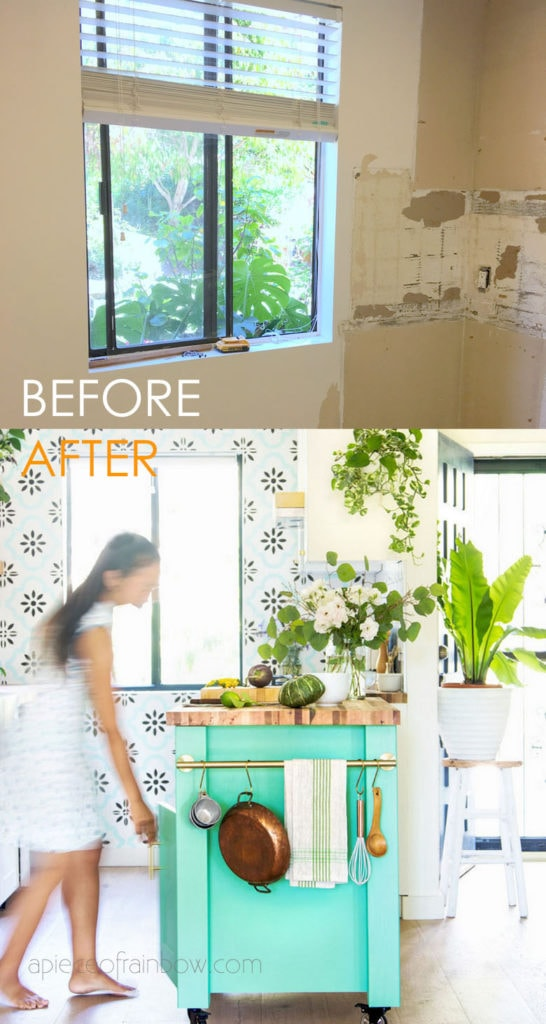 DIY  IKEA kitchen before after with IKEA hack kitchen island in colorful boho farmhouse kitchen