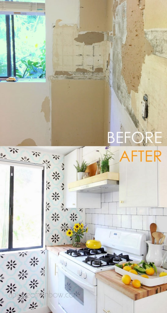 modern farmhouse DIY IKEA kitchen remodel with shiplap rang hood and square subway tile