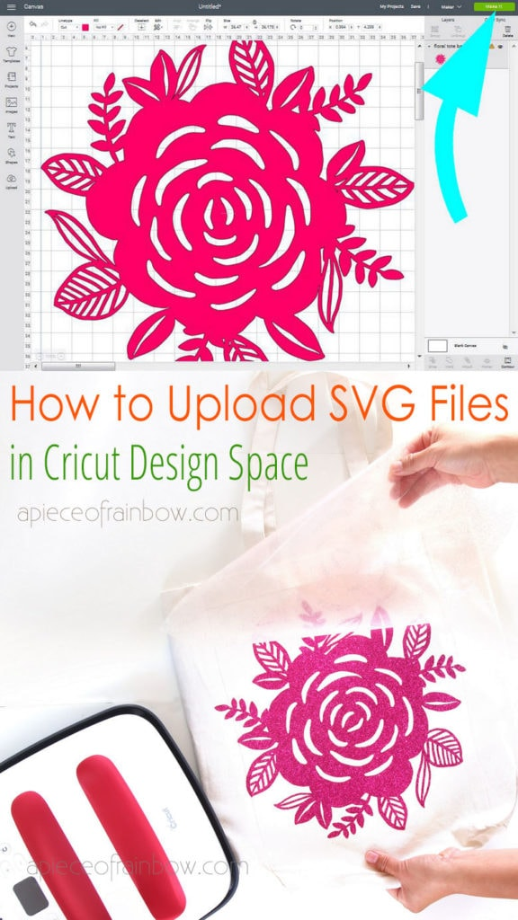 Easy step by step tutorial on how to upload SVG files to Cricut Design Space & use custom SVG images with Cricut Maker or Explore cutting machines.