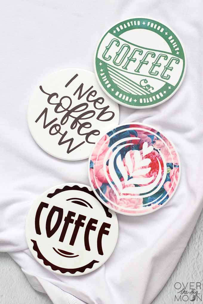 retro coasters personalized Christmas gifts for coffee lovers