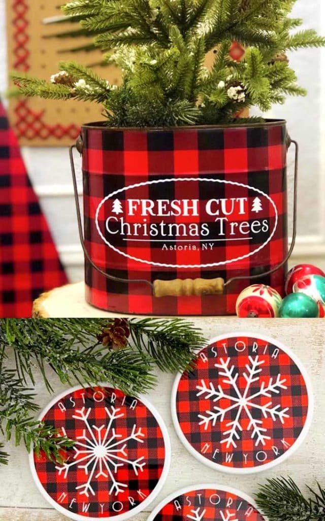 checkered Christmas tin